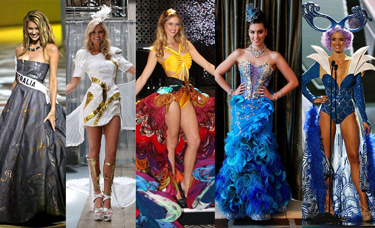 The Miss Universe national costume in (from left) 2004, 2011, 2012, 2013 and 2015. Photo: Getty