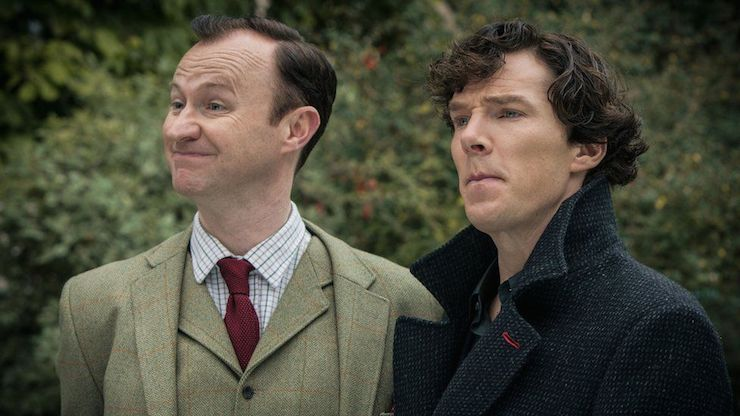 Mark Gatiss as Mycroft Holmes (left) and Benedict Cumberbatch as Sherlock Holmes. Photo: BBC