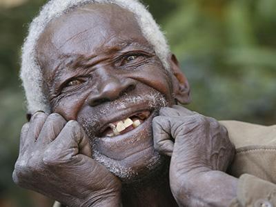 Happy elderly African man portrait