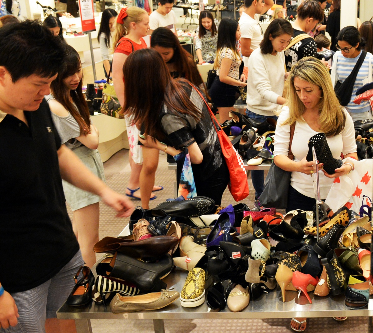 Stay courteous: that cheap pair of shoes isn't worth ruining someone's day. Photo: AAP