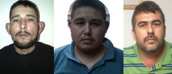 Martin Rogelio Muniz Ponce, Julio Cesar Gonzalez Muniz and Sergio Simon Benitez Gonzalez (L to R), who have been accused of killing Australians Adam Coleman and Dean Lucas. Photo: Supplied