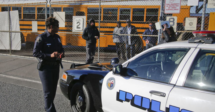 School buses ground to halt at the depot due to the threat.