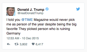 Donald Trump was displeased about the decision by TIME.