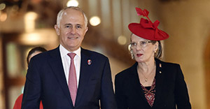 VALLETTA, MALTA - NOVEMBER 27: Australian Prime Minister Malcolm Turnbull and his wife Lucy Turnbull arrive for the opening ceremony of the Commonwealth Heads of Government Meeting (CHOGM) at the Mediterranean Conference Centre on November 27, 2015 near Valletta, Malta. The biennial summit meeting of Commonwealth nations is attended by Queen Elizabeth II, Head of the Commonwealth, along with The Duke of Edinburgh, Prince of Wales and Duchess of Cornwall. (Photo by Toby Melville - Pool /Getty Images)