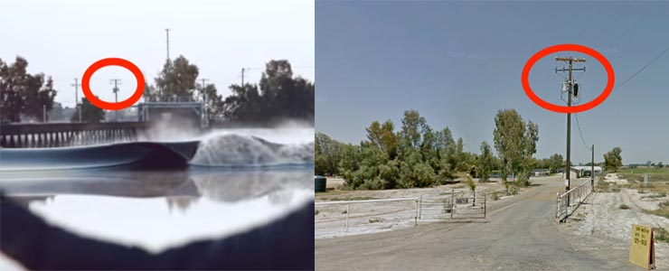 The technique Broadewif used to locate the wave pool: coparing images from the video with Street View images.
