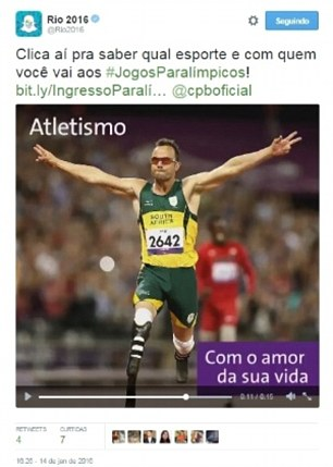 Pistorius used as inspiration in an embarrassing gaffe. Photo: Twitter