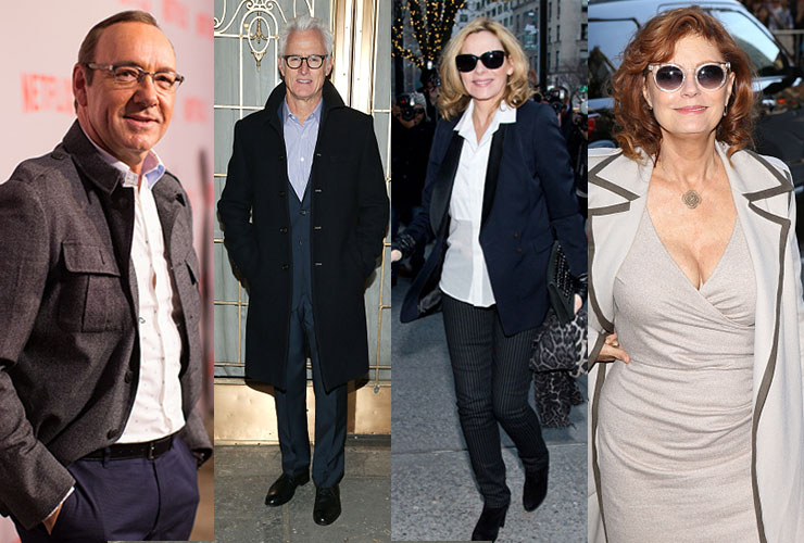 L-R: Kevin Spacey, John Slattery, Kim Cattrall and Susan Sarandon. Photo: Getty
