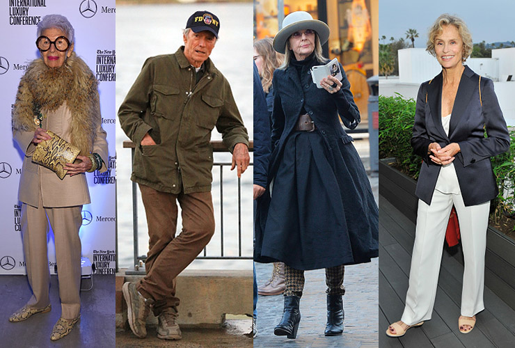 L-R: Iris Apfel, Clint Eastwood, Diane Keaton and Lauren Hutton. Photo: Getty