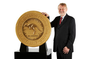 Designed by goldsmith Stuart Devlin, the 1 tonne coin measures nearly 80cms wide.