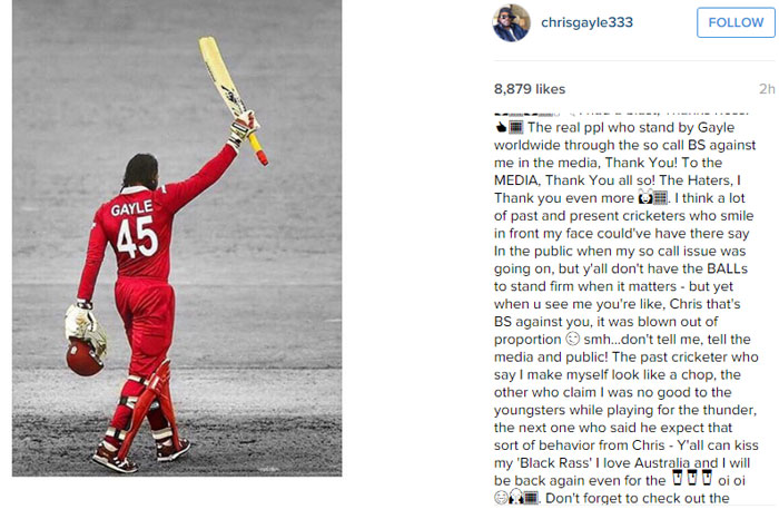 A section of Gayle's lengthy Instagram post. Photo: Instagram