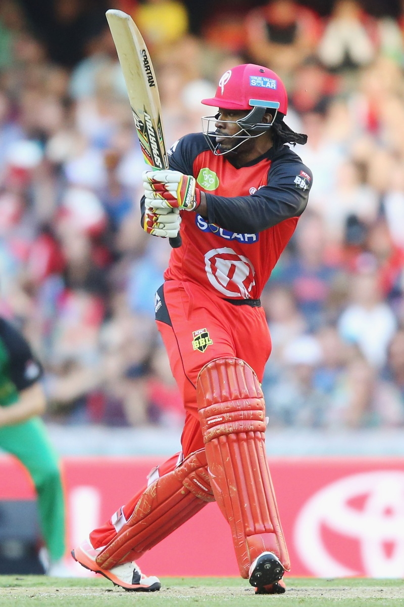 Gayle made a slow start, clubbed a couple of sixes, and was out for 21. Photo: Getty