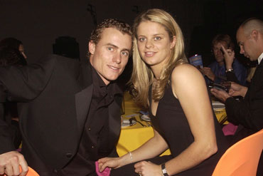 Young love: Hewitt and Kim Clijsters in 2002. Photo: Getty