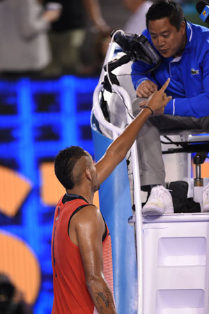 Nick Kyrgios repeatedly berated the umpire over music in the crowd. Photo: Getty