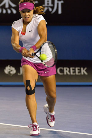 Li Na's knee tape could be an exhibit at the NGV. Photo: Getty
