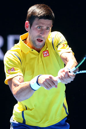 Novak channeling the Swedish football team with this number. Photo: Getty