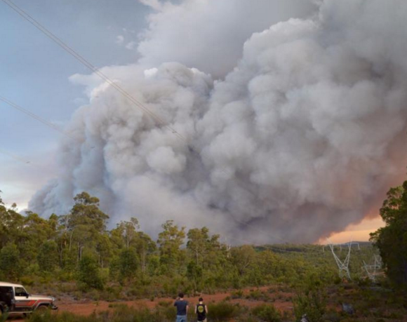 Smoke from the fire is billowing everywhere. Photo: ABC/Fraser Hull