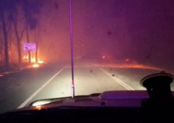 The Waroona fire as seen from a WA Police car. Photo: WA Police