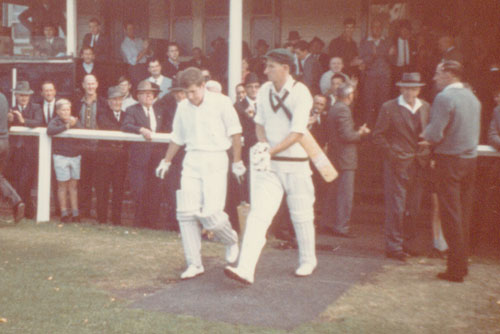 The author and Bill Lawry walk out to bat on day four, still with more than 100 runs to chase. Photo: supplied