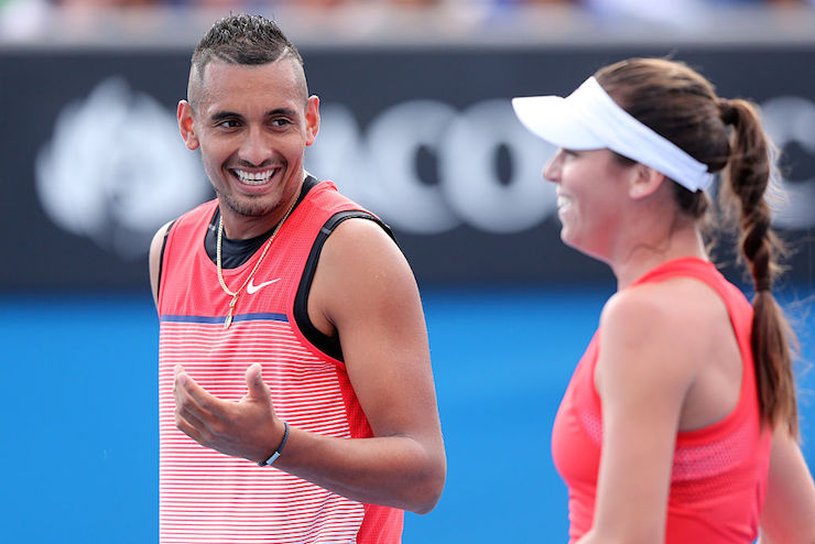 Kyrgios and Tomljanovic play together as mixed doubles partners. Photo: Getty