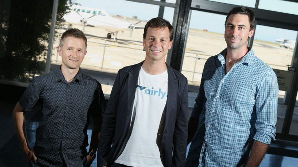 Co-founders, Ivan Vysotskiy, Alexander Robinson, 32, and Luke Hampshire, 28, say Airly will turn air travel on its head.