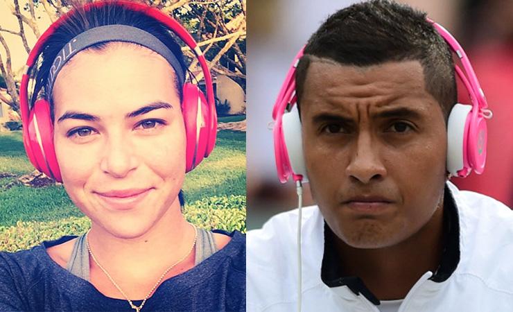 Tomljanovic and Kyrgios have the same taste in headphones. Photo: Instagram/Getty
