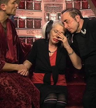 Angie is comforted on camera by fellow housemates during an episode of 'Celebrity Big Brother'.