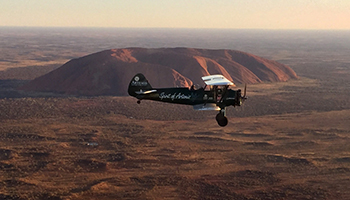 Curtis-Taylor flew over Ayers Rock before landing in Sydney. Photo: AAP