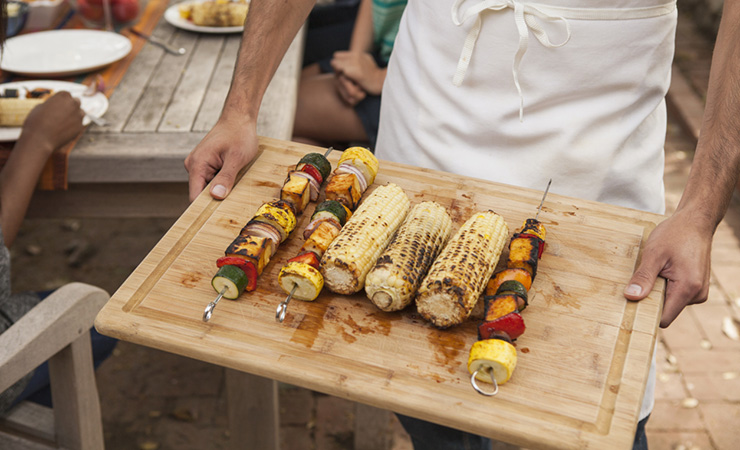Vegetable skewers are a healthy and delicious Australia Day snack. Photo: Getty