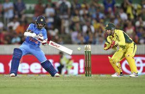 Indian batsman Shikhar Dhawan plays a shot.
