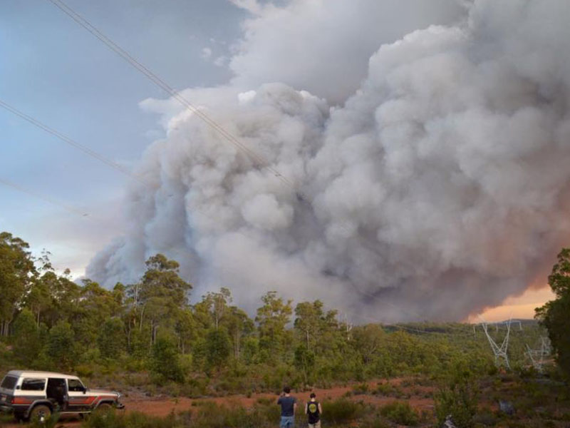 The Waroona fire seen from Nanga Road on Wednesday.