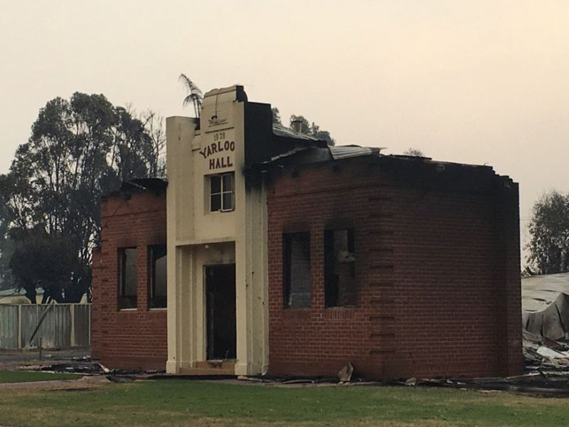 Damage to Yarloop Hall after fire raged through the town.