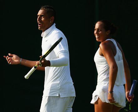 Kyrgios and Keys team up for a mixed doubles match. Photo: Getty