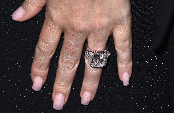 Carey's engagement ring in all of its 35-carat glory. Photo: Getty