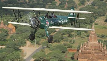 Curtis-Taylor flys over Bagan in Myanmar. Photo: AAP