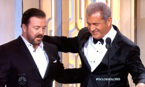 Ricky Gervais and Mel Gibson have a moment. Photo: Twitter