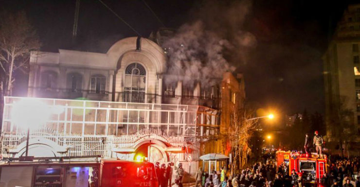 Iranians set fire to Saudi Embassy.