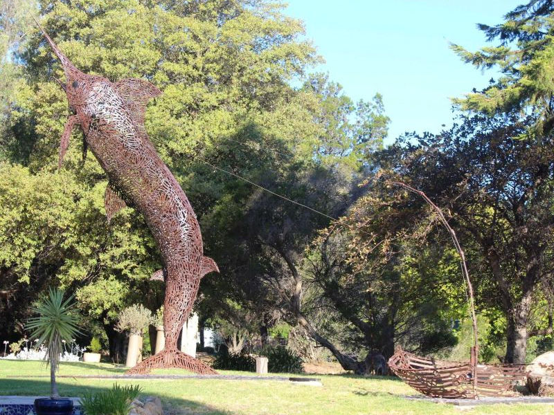 This seven metre tall sculpture of a marlin contains three to four thousand spanners and took eight months to build. Photo: Emily Stewart