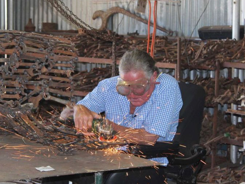 John Piccoli, known as the Spanner Man, has spent every day in his workshop for the past 15 years. Photo: Emily Stewart