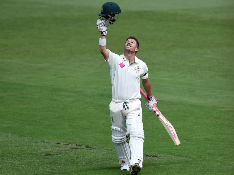Warner celebrates scoring a century on the fifth day.