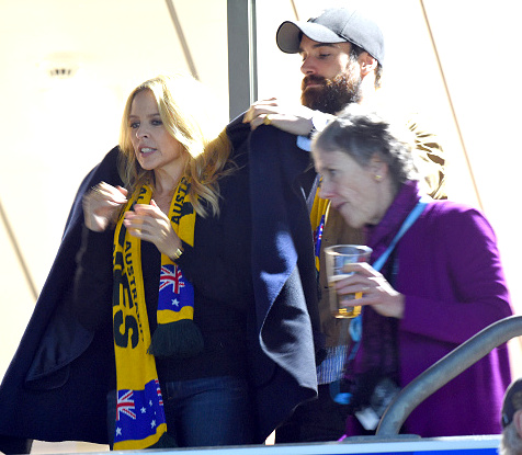 Minogue and Sasse at the Rugby World Cup last year. Photo: Getty
