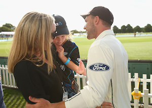 McCullum celebrates with his wife Ellissa and daughter Maya. Photo: Getty
