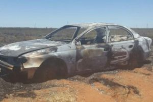 The burnt out car was mistaken for a space fireball. Photo: South Hedland Police