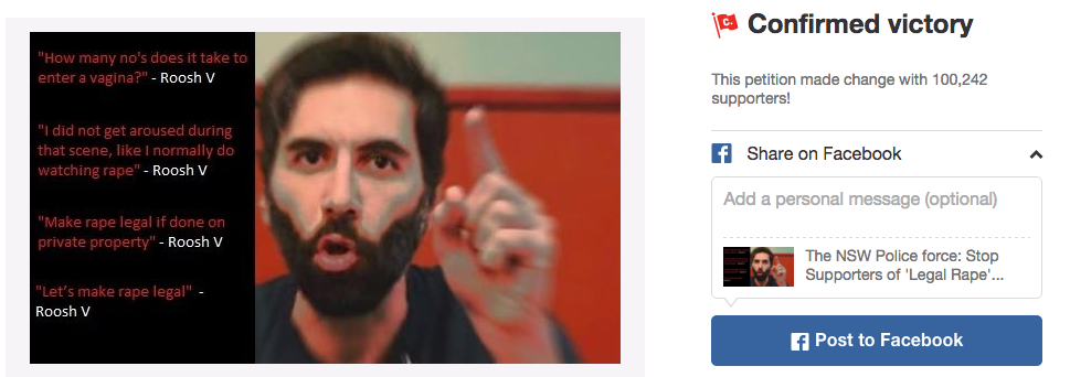 A petition against 'Roosh' was branded a success on Thursday. Photo: Change.org