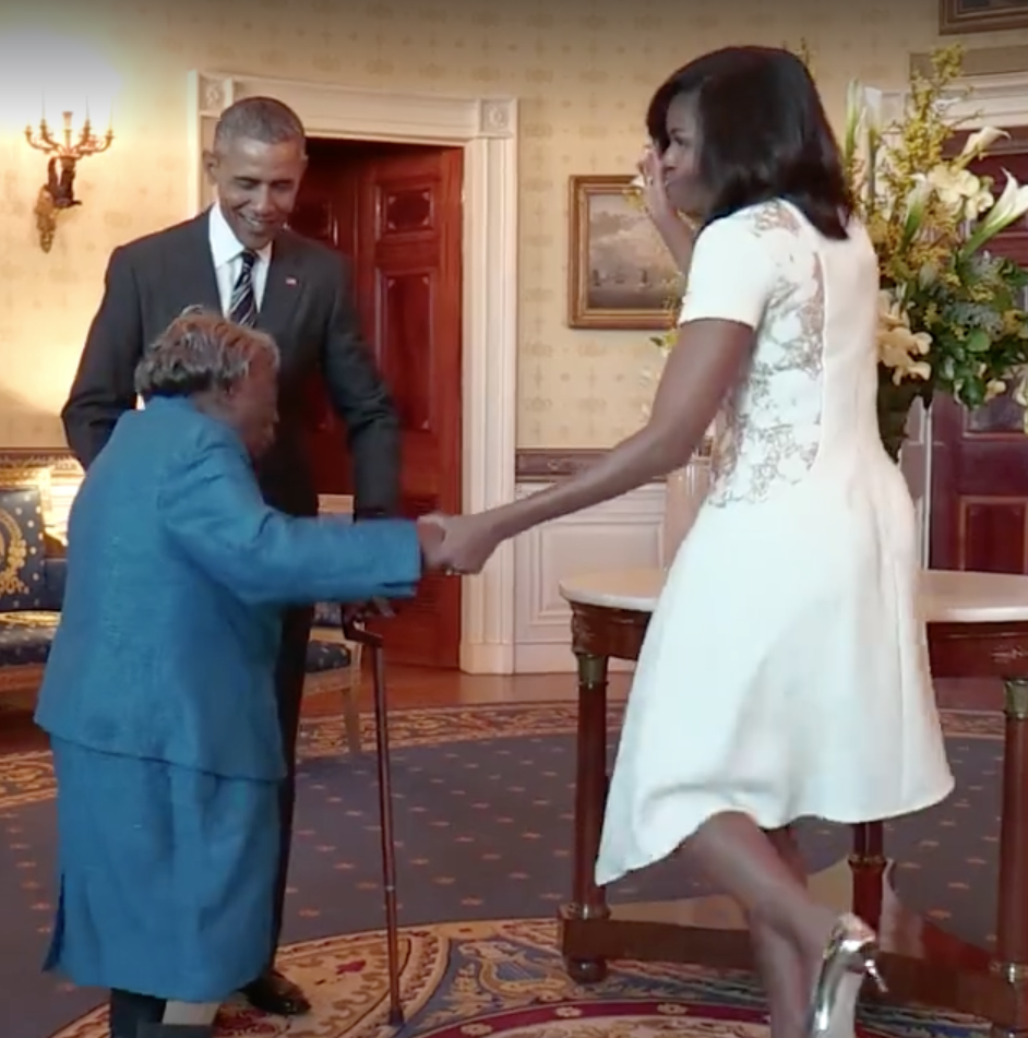 Mrs Obama and Ms McLaurin dance together in The White House. Photo: Facebook