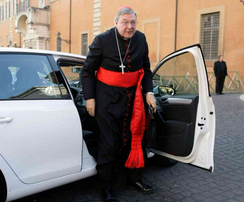 Pell arrives to give testimony in Rome. Photo: Twitter