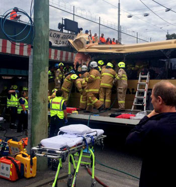The incident came just a day after a bus ploughed into the overpass.