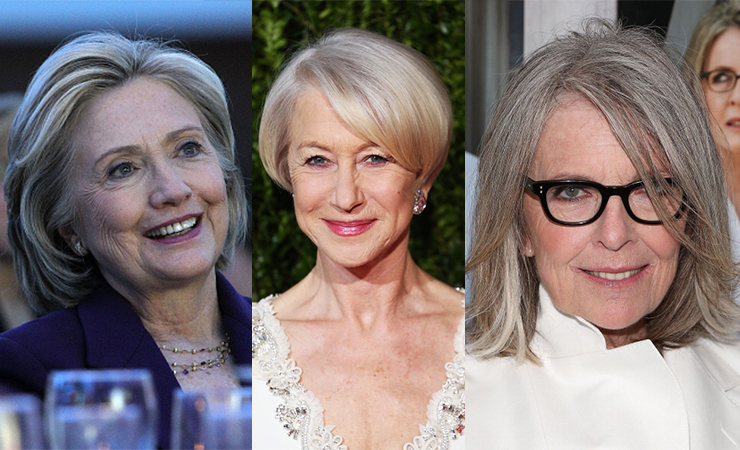 Hillary Clinton, Helen Mirren and Diane Keaton are going grey gracefully. Photo: Getty