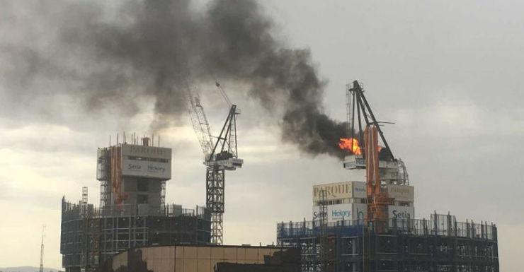 Crane on fire in Melbourne.