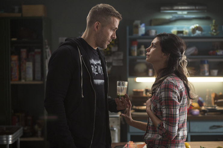 Deadpool (Ryan Reynolds) and his girlfriend Vanessa (Morena Baccarin) before his transformation.