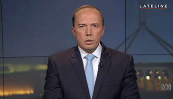 Dutton told Lateline the Government had strict measures in place to assess those wanting to come to Australia. Photo: ABC